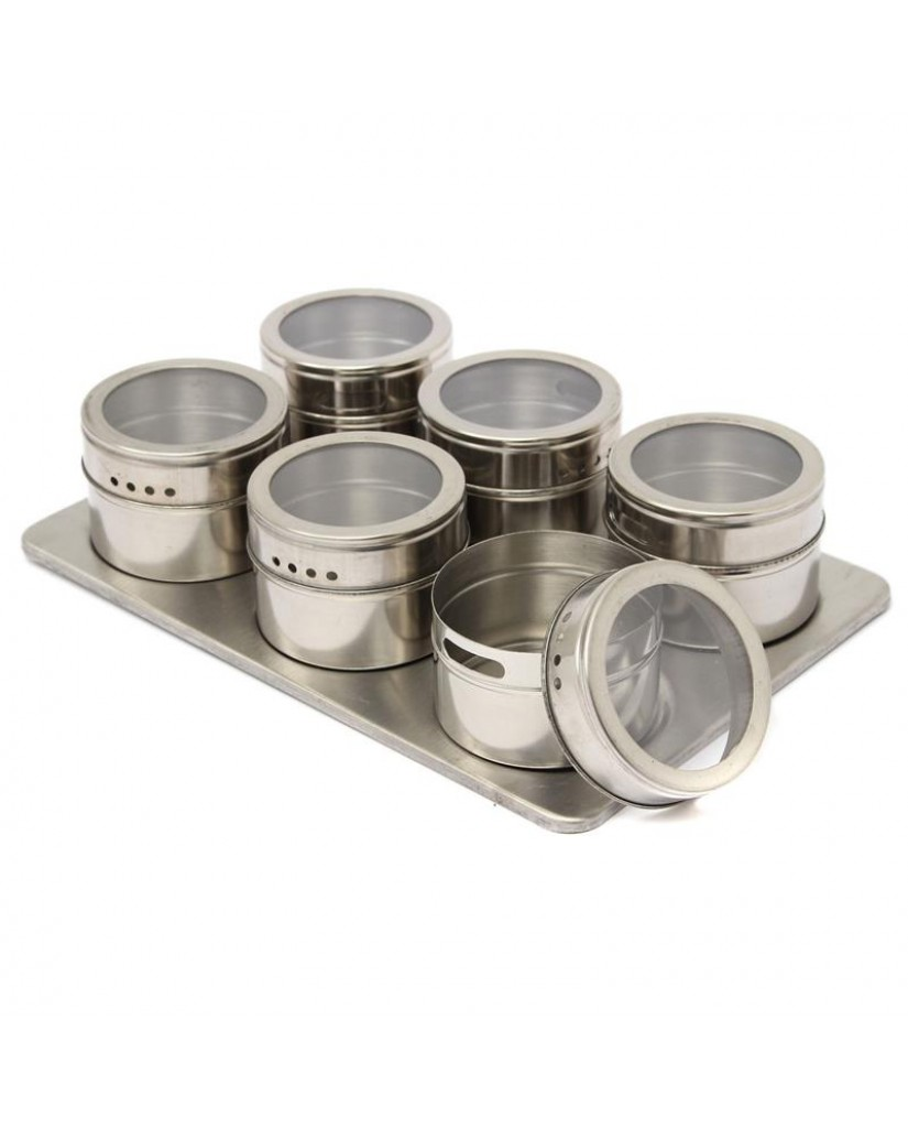 stainless steel magnetic containers multipurpose spice tin rack   - magnetic spice tin rack  set of